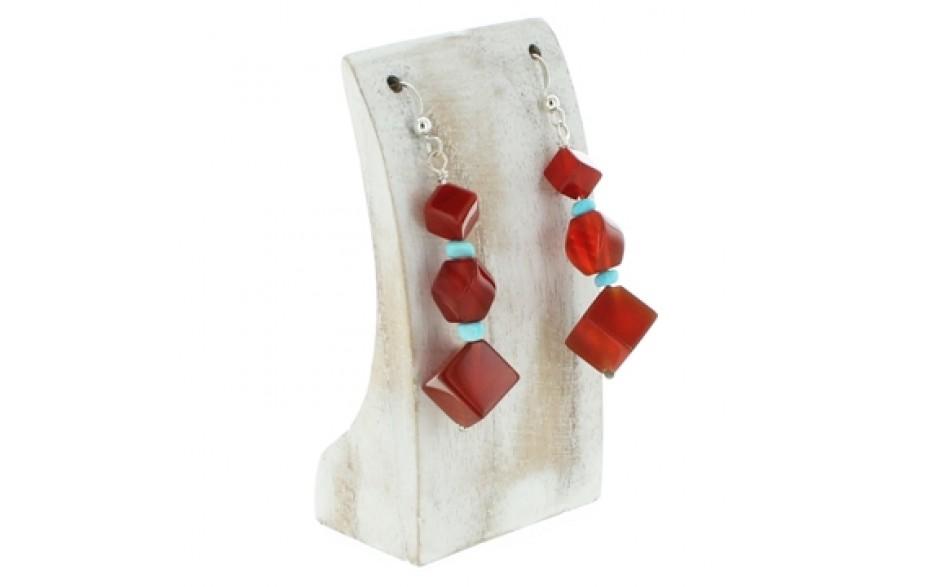 Red Carnelian & Turquoise Earrings
