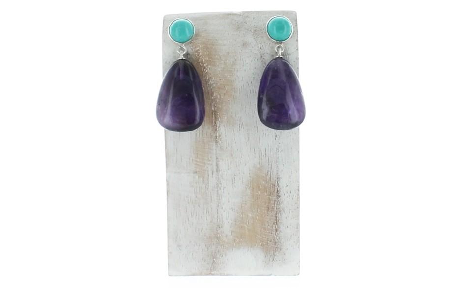 Amethyst & Angel Peak Turquoise Earrings