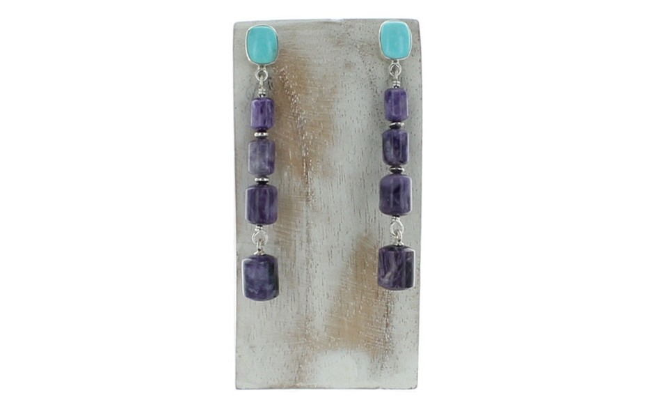Charoite & Andean Blue Turquoise Earrings