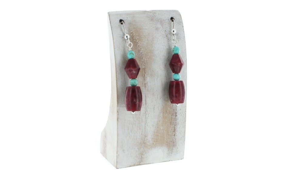 Thulite & Turquoise Earrings