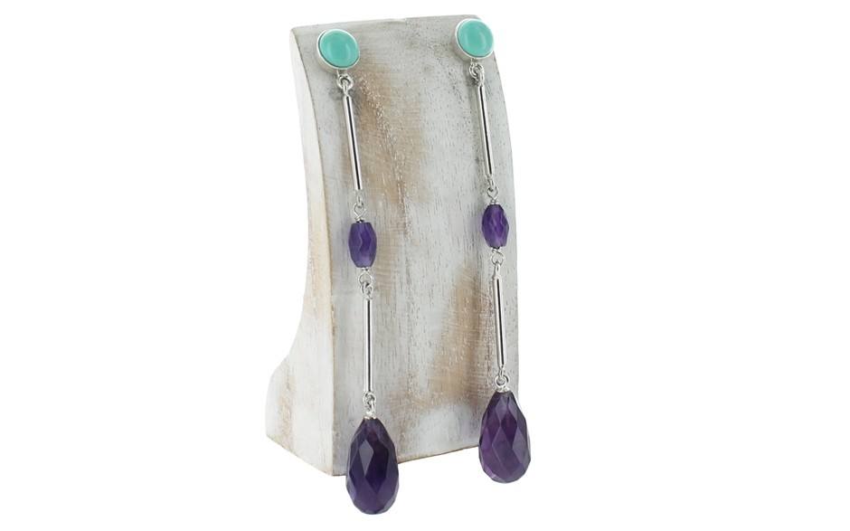 Amethyst & Chilean Turquoise Earrings