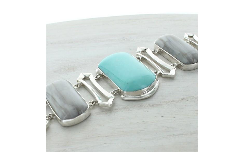 Campitos Turquoise & Petrified Wood Bracelet