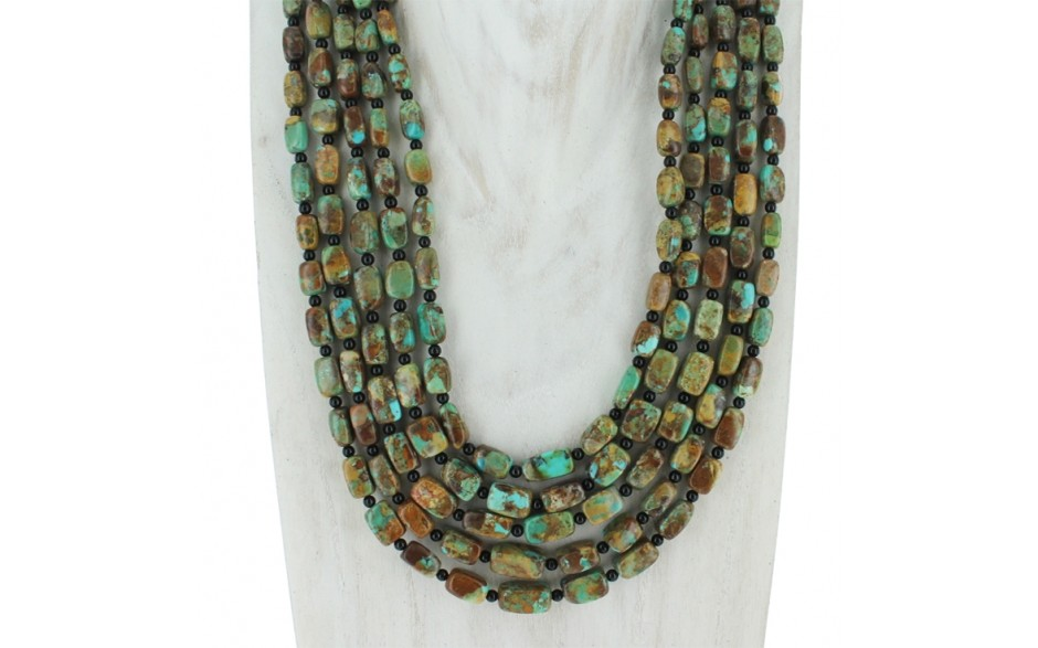 Turquoise & Black Agate Five Strand Necklace