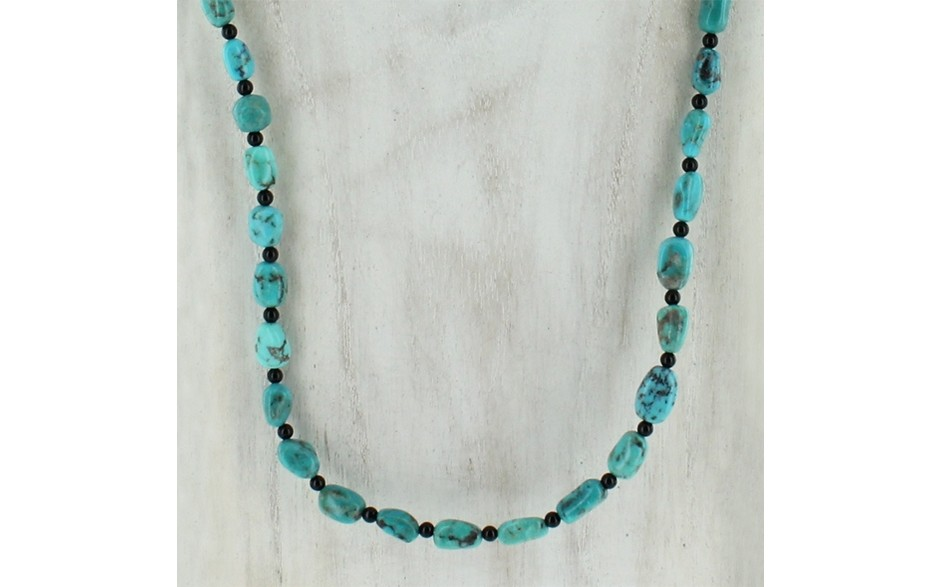 "Turquoise and Black Agate 48"" Necklace"