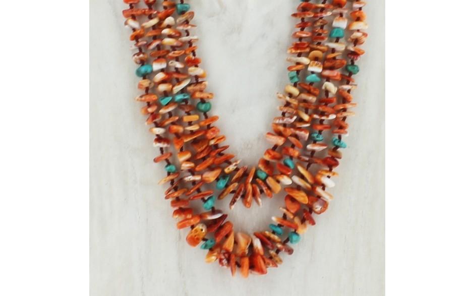 Orange Spiney Oyster & Turquoise Necklace