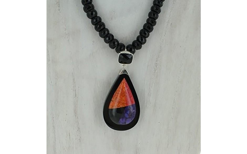 Multi Stone Pendant & Black Obsidian Beaded Necklace