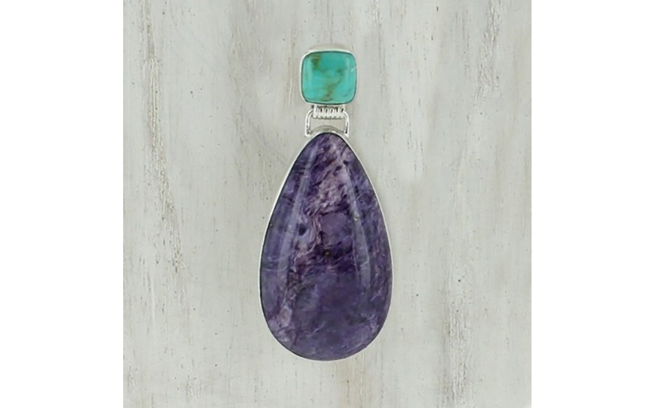 Andean Blue Turquoise & Charoite Pendant