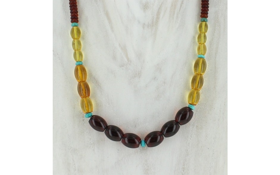Multi Colored Amber & Turquoise Necklace