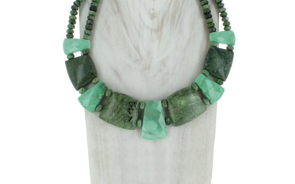 Dark Green Opal & Variscite Necklace