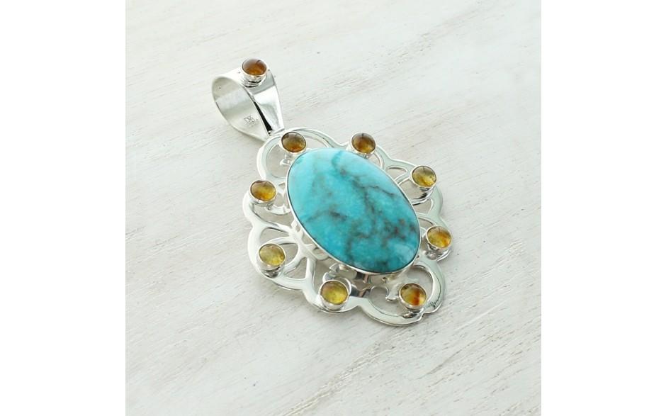 Azure Peaks Turquoise & Amber Pendant