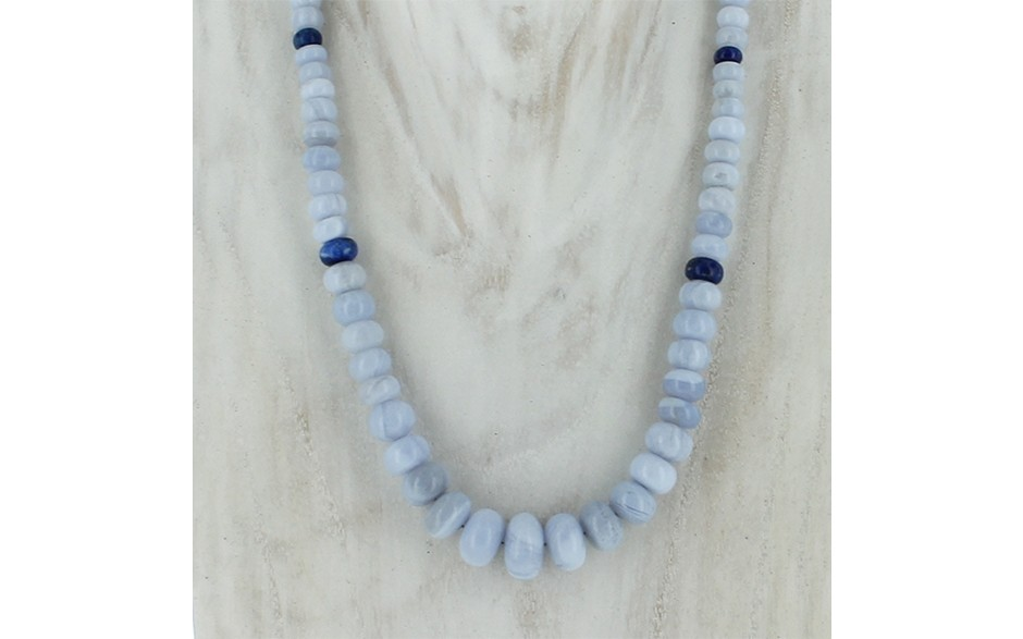 Blue Lace Agate & Lapis Necklace