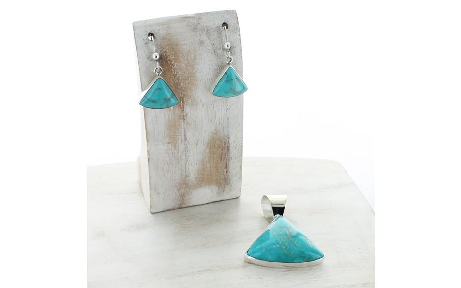 Turquoise Pendant & Earring Set