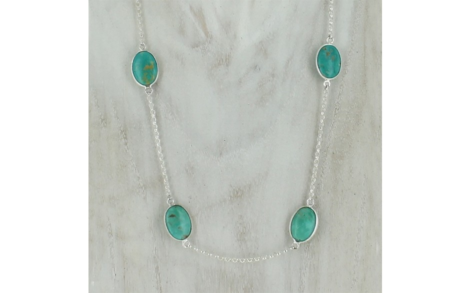 Turquoise 6-station SS Chain Necklace