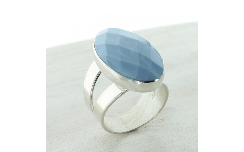 Dream Blue Opal Faceted Ring