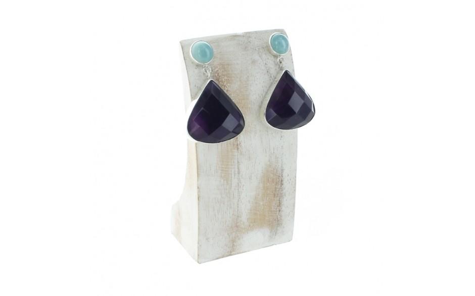 Aquamarine & Amethyst Earrings