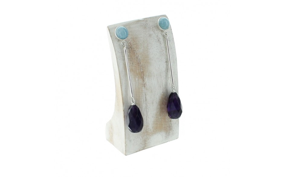 Aquamarine & Amethyst Earrings