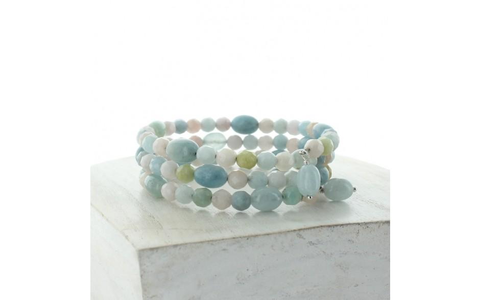 Aquamarine & Morganite Coil Bracelet