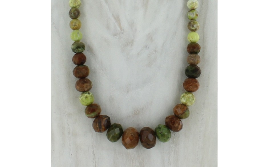 Chrome and Madagascar Green Opal Necklace