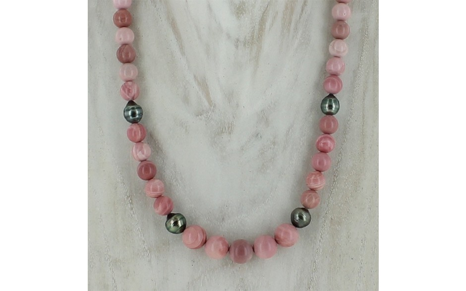 Pink Opal & South Sea Pearl Necklace