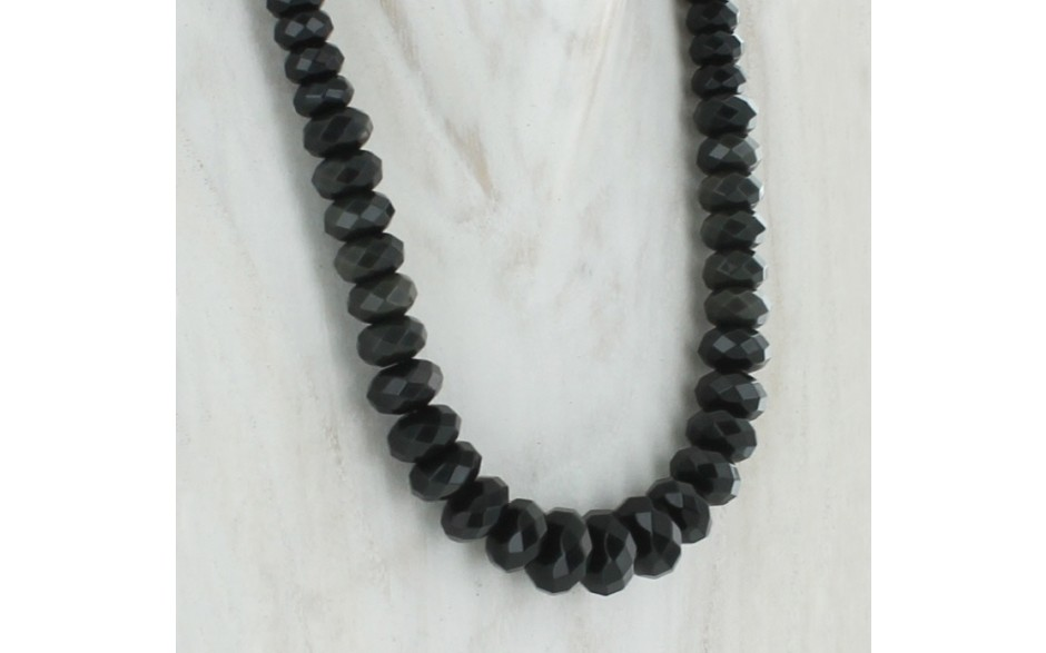 Black Obsidian Faceted Necklace