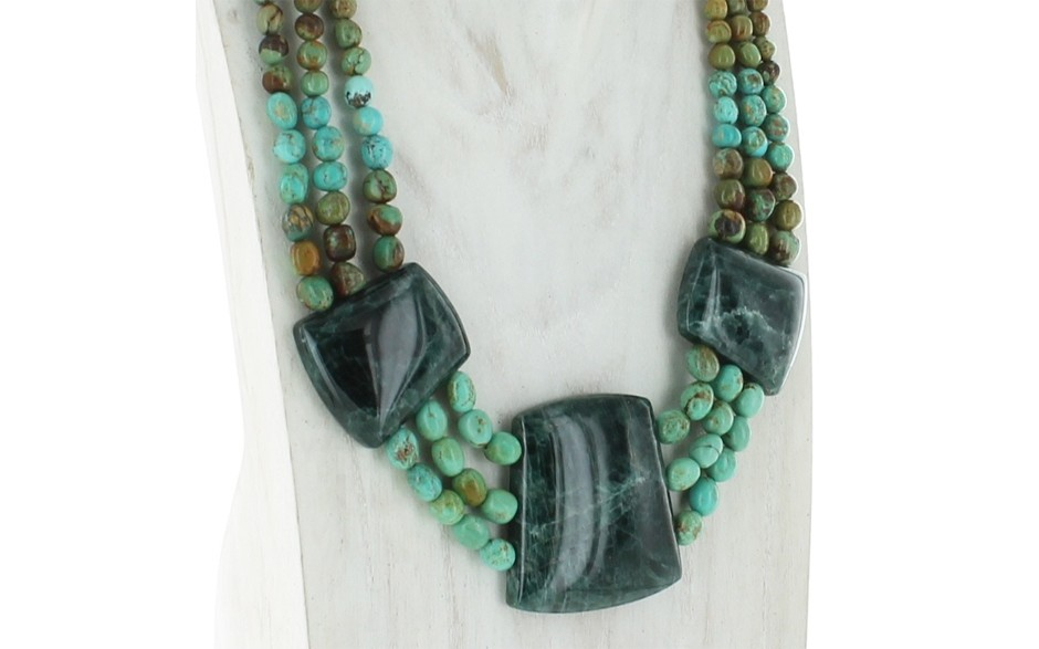 3 Strand Turquoise & Teal Apatite Necklace