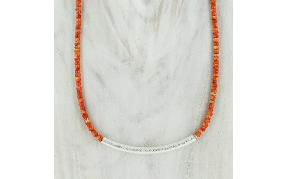 Spiny Oyster & Silver Bar Necklace