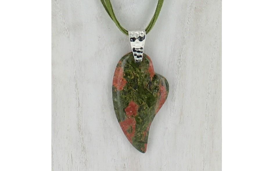 Unakite Pendant with Suede Cord Necklace